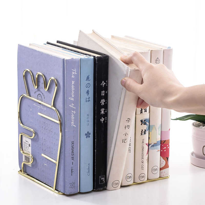 2 PCS/Pair יצירתי קקטוס אהבה בצורת מתכת תומכי ספרים יצוק ברזל קובץ ספר אחסון מחזיק מדף תמיכה Stand מארגן שולחן