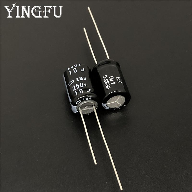 10pcs 10uF 250V Japan NCC SMG Series 10x16mm 250V10uF Aluminum Electrolytic Capacitor