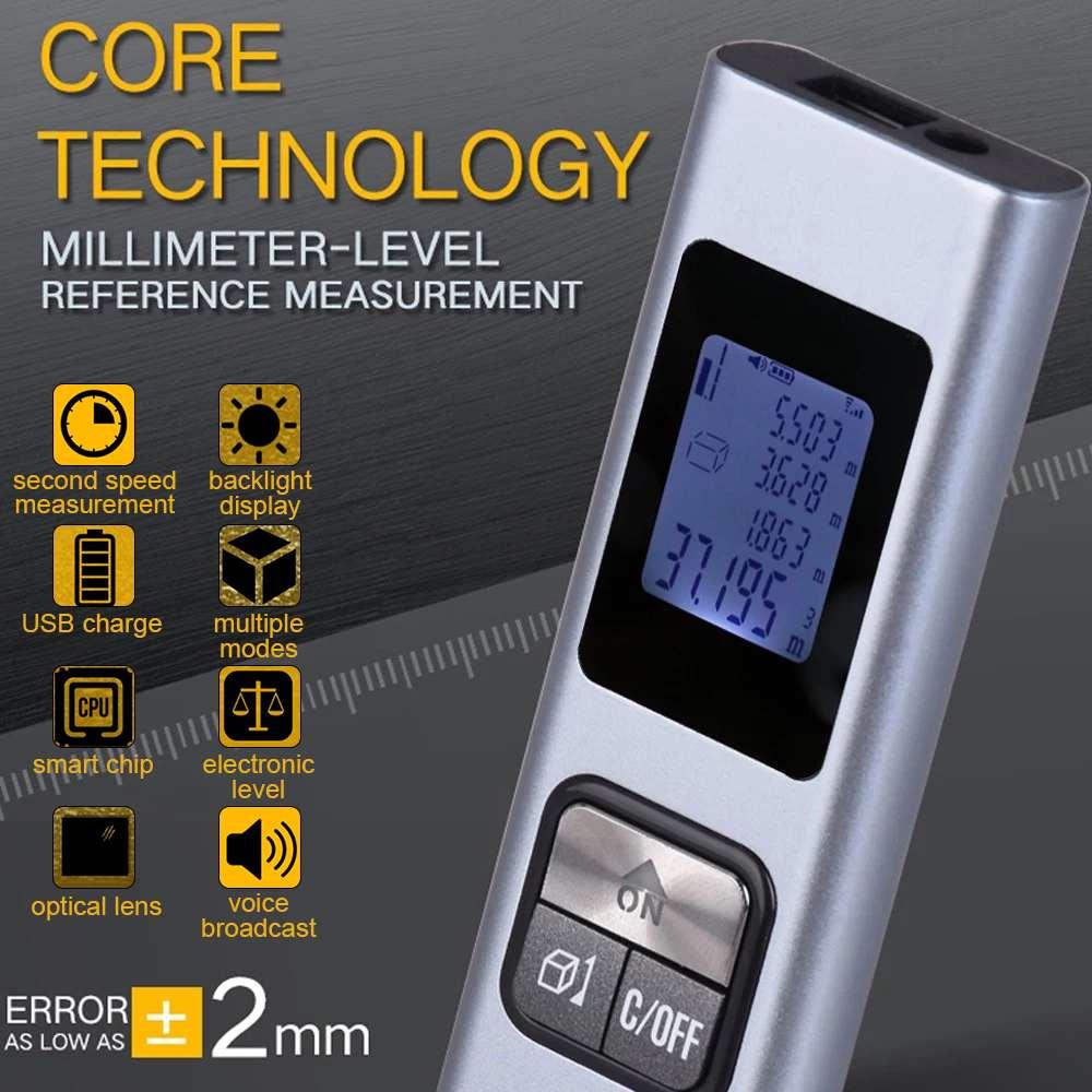 Mini Laser Level Laser Rangefinder LS-X Intelligent 40M Waterproof Handheld USB Portable Rechargeable Laser Distance Meter