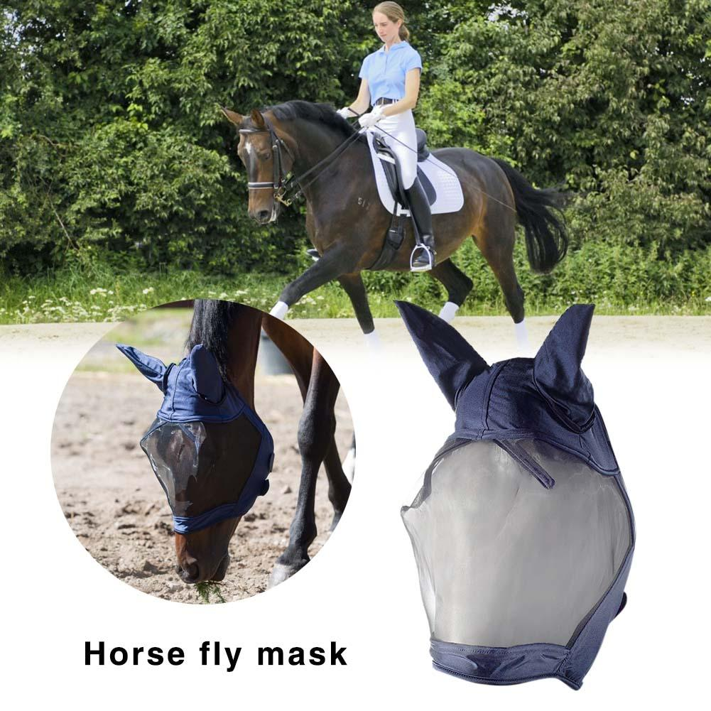 Hot Horse Fly Mask Anti-mosquito Full Face Mesh Anti-UV Mask With Ears Accessories Horse Riding Breathable Meshed Protector