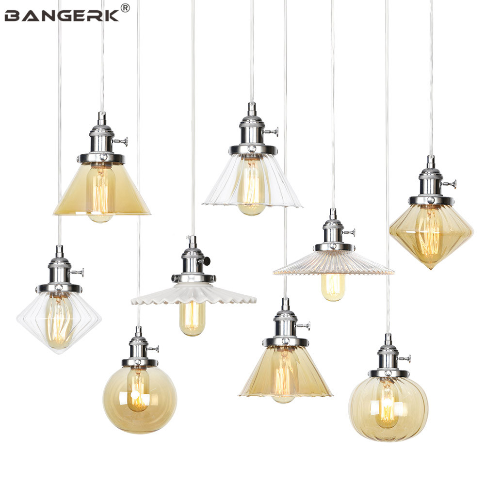 Nordic Design Adjust Pendant Light Iron Glass Switch Vintage LED Hanging Lamp Loft Decor Dining Room Home Lighting Luminaire title=