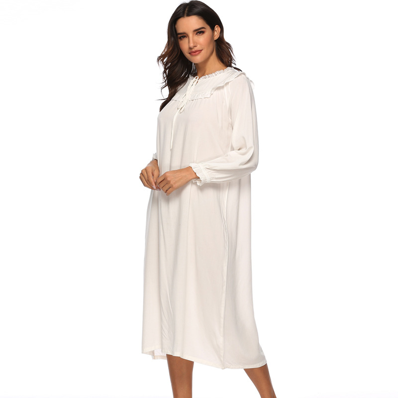 Spring Princess Long Sleeve Solid Nightgown Palace Pure Cotton Long Sleeping Dress Round Neck Sexy Sleepwear Night Dress Women