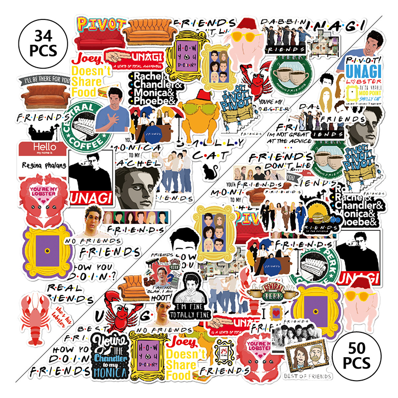 34/50pcs Friends TV Show Letter Anime Vintage Paster Gift Toy Funny Decal Scrapbooking DIY Phone Laptop Stickers Gifts F4