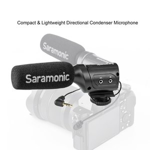 Saramonic SR-M3 мини-направленный конденсаторный микрофон со встроенным Shockmount, переключатели для DSLR камер и видеокамер