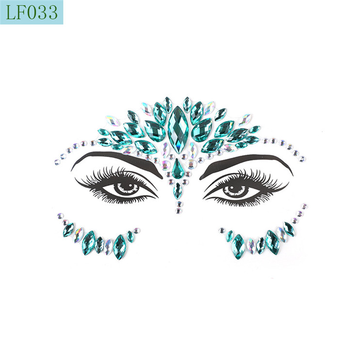 7   Acrylic Rhinestone Face Stickers Women Halloween Christmas Birthday Party Decor Environmentally Colorful Crystal Face Stickers