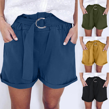 Drawstring Short Casual Shorts Women New Summer High Waist  Pocket Loose Wide-leg Shorts Ladies Womens Comfy Short