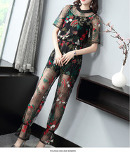 New summer super fashion short-sleeved Sheer embroidered beaded top+long-section embroidered mesh trousers suit set for women scallop edge sheer embroidered mesh longline kimono