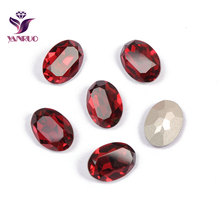 YANRUO 4120 Oval Siam Fancy Glass Beads Diamond Sewing Rhinestones DIY Base Ornaments Claw Setting