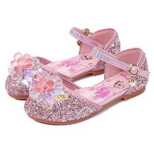Image 5 - Prinses Kinderen Leren Schoenen Voor Meisjes Casual Glitter Kinderen Lage Hak Meisjes Schoenen Blauw Roze Zilver Elsa Party Schoen