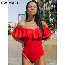 One-Piece Swimsuit Monokini Swim-Wear Ruffle Push-Up Off-Shoulder Black Red Women