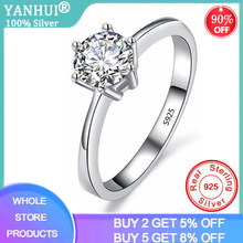 YANHUI With Certificate Real Natural Solid 925 Sterling Silver Rings Luxury 1 Carat Lab Diamond Wedding Rings for Women JZ023(China)