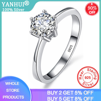 YANHUI With Certificate Real Natural Solid 925 Sterling Silver Rings Luxury 1 Carat Lab Diamond Wedding Rings for Women JZ023 yanhui with certificate 1 carat 2 carat gemstones zirconia diamond ring 925 sterling silver jewelry wedding bands for women