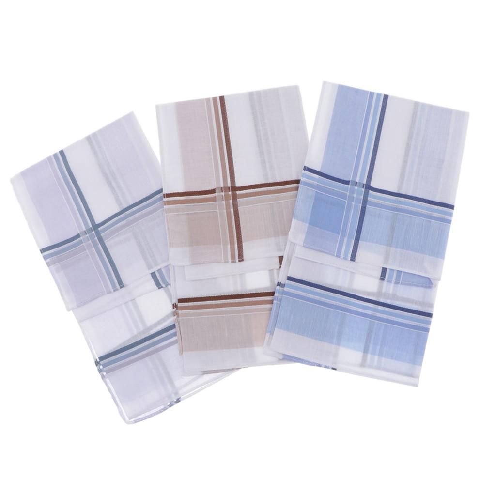 3Pcs Square Plaid Stripe Handkerchiefs Men Handkerchief Plaids Square Cotton Hanky Soft Kerchiefs Hankie For Wedding 40*40CM