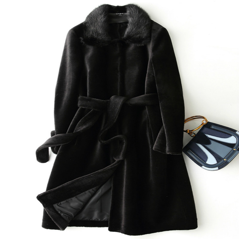 Fur Real Coat With Mink Fur Collar Fashion Winter Coat Women Clothes 2020 Korean Thick Warm Long Wool Jacket+belt X-85