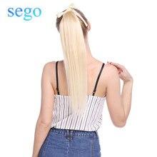 """SEGO 1""""-20"""" чистый и фортепианный цвет, не Реми волосы, лента, конский хвост, на заколках, человеческие волосы для наращивания, конский хвост, Натуральные Прямые Волосы"""