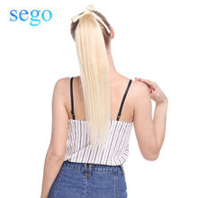 "SEGO 16""-20"" Pure and Piano Color Non-Remy Hair Ribbon Ponytail Clips-in Human Hair Extensions Horsetail Natural Straight Hair(China)"