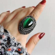 SINLEERY женский в форме капли воды Зеленый Опал большие кольца Античные Серебро Цвет Винтажные Украшения для свадебной вечеринки Jz152 SSC