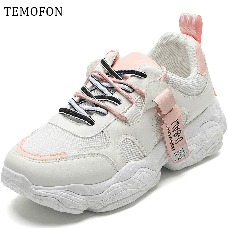 TEMOFON fashion female sneakers women shoes breathable women sneakers summer height increasing vulcanize shoe espadrilles HVT765
