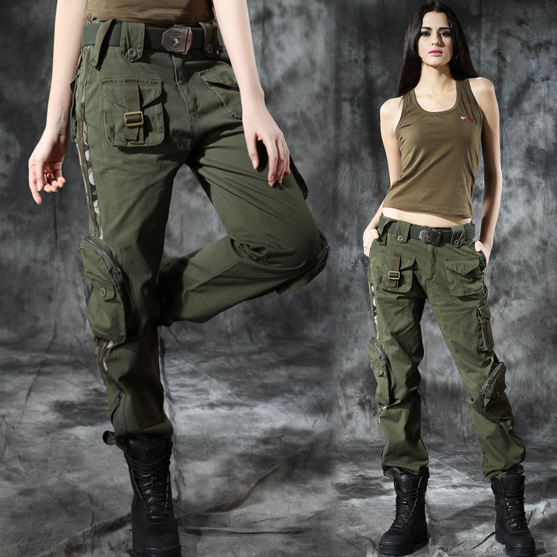 Outdoor Multi Pocket Tactical Long Pants Wear Resistant Pure Cotton Fabric Hiking Camping Climbing Women Loose Straight Trousers
