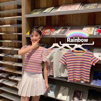 Photo Shoot New Style Hyuna Rainbow Stripes Short Western Style Tops Color Stripes T shirt Student Versatile