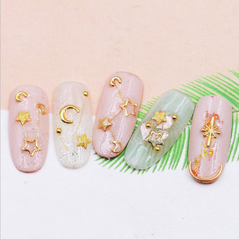 1 Box Gold Nail Decoration Art Star Moon 3D Decorations Feathers Charm Metal Frame Mix Shape Nail Art Manicure Accessories фото