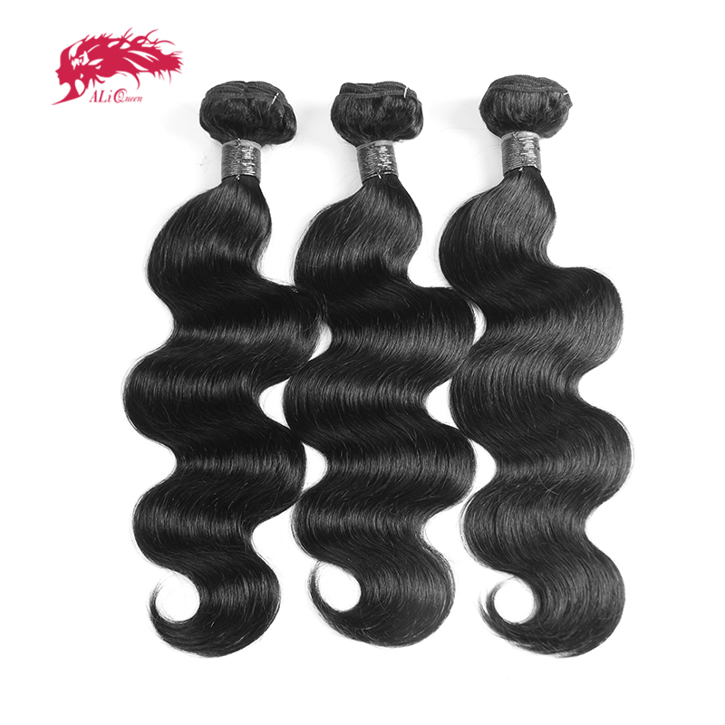 3Pcs Peruvian Body Wave Hair Bundles Human Hair Extensions 10-26 Inch Non-Remy Hair Weaving Ali Queen Hair Natural Black Color