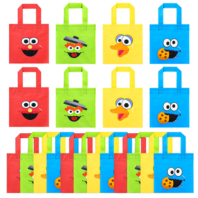 20Pcs Sesame Non Woven Party Favor Bags Monster Reusable Candy Treat Tote Bags with Handle Theme Gift Bags Party Decor for Kids 1