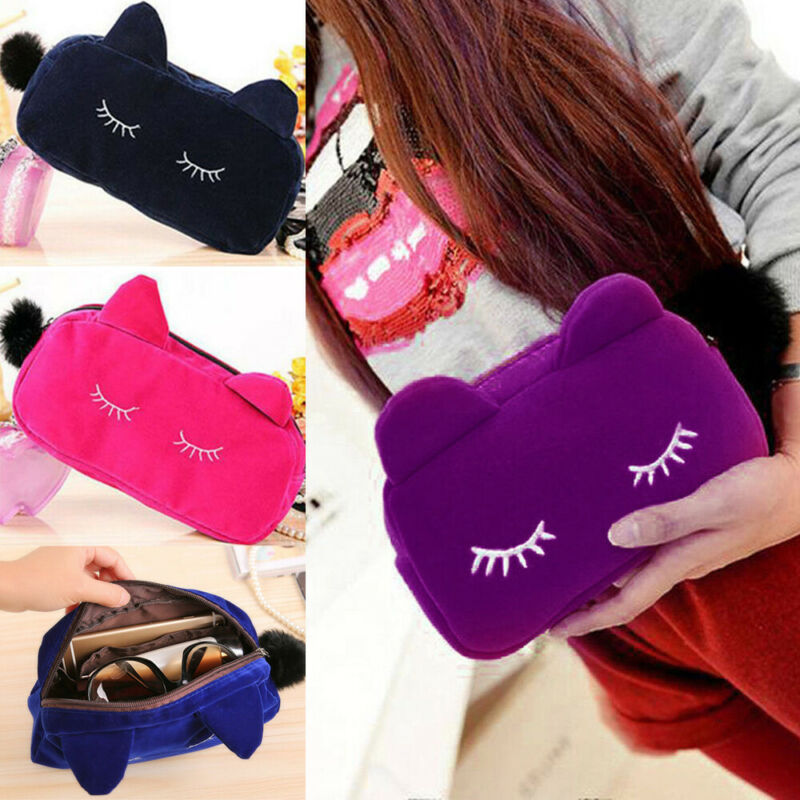 Ladies Cute Cosmetic Bag Cat Print Wash Bag Toiletries Travel MakeUp Bags