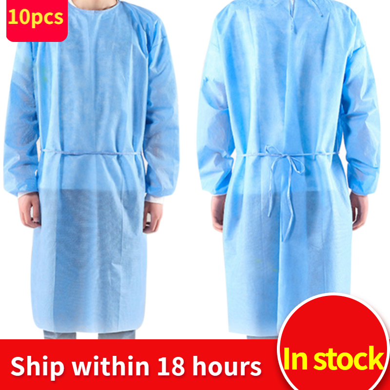 10pcs/set Disposable Isolation Clothes Non-woven Dust-proof Security Protection Suit Surgical Suit Isolation Gown Blouse