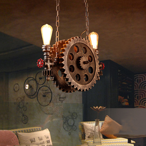 vintage loft pendant lamps gear clain lights water pipe arm bar restaurant industry wind cafe living room dining room stair lamp
