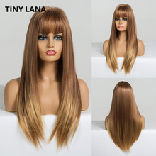 TINY LANA ombre Blonde Long Straight Wig with Bangs Synthetic Hair Wigs for Woman Heat Resistant Wigs Glod Cosplay Party Wigs