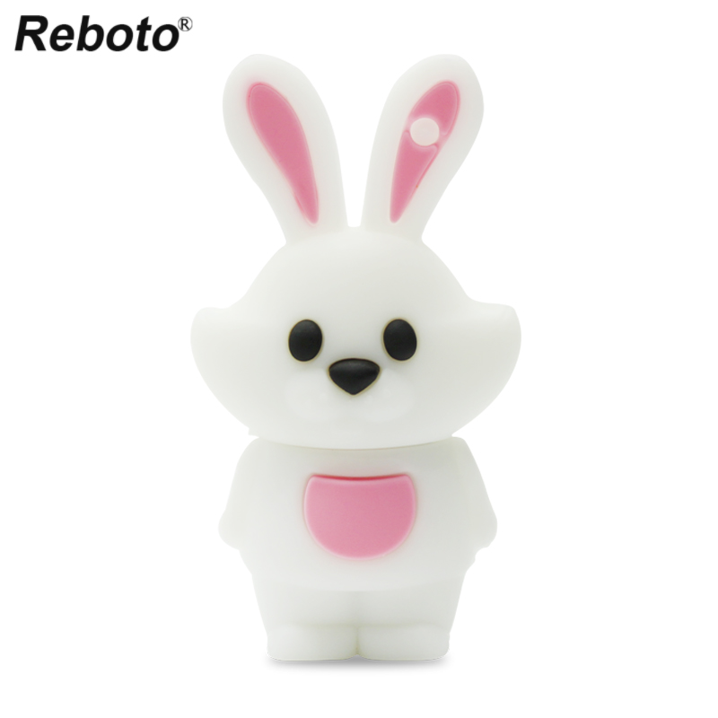 Mini Figure USB Flash Pendrive Cartoon Silicone Memory Stick 64GB 32GB 16GB 8GB Cute Rabbit Flash Disk U Stick For PC