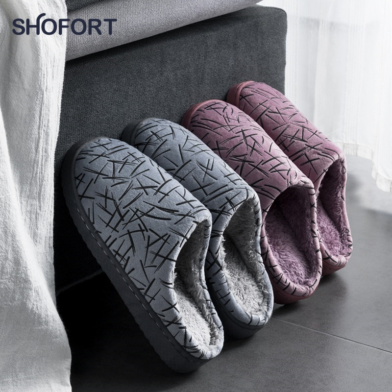 SHOFORT Women Slippers Warm Soft Cotton At Home Winter Slippers Cozy Sole Non-slip Bottom Men Women's Shoes Indoor
