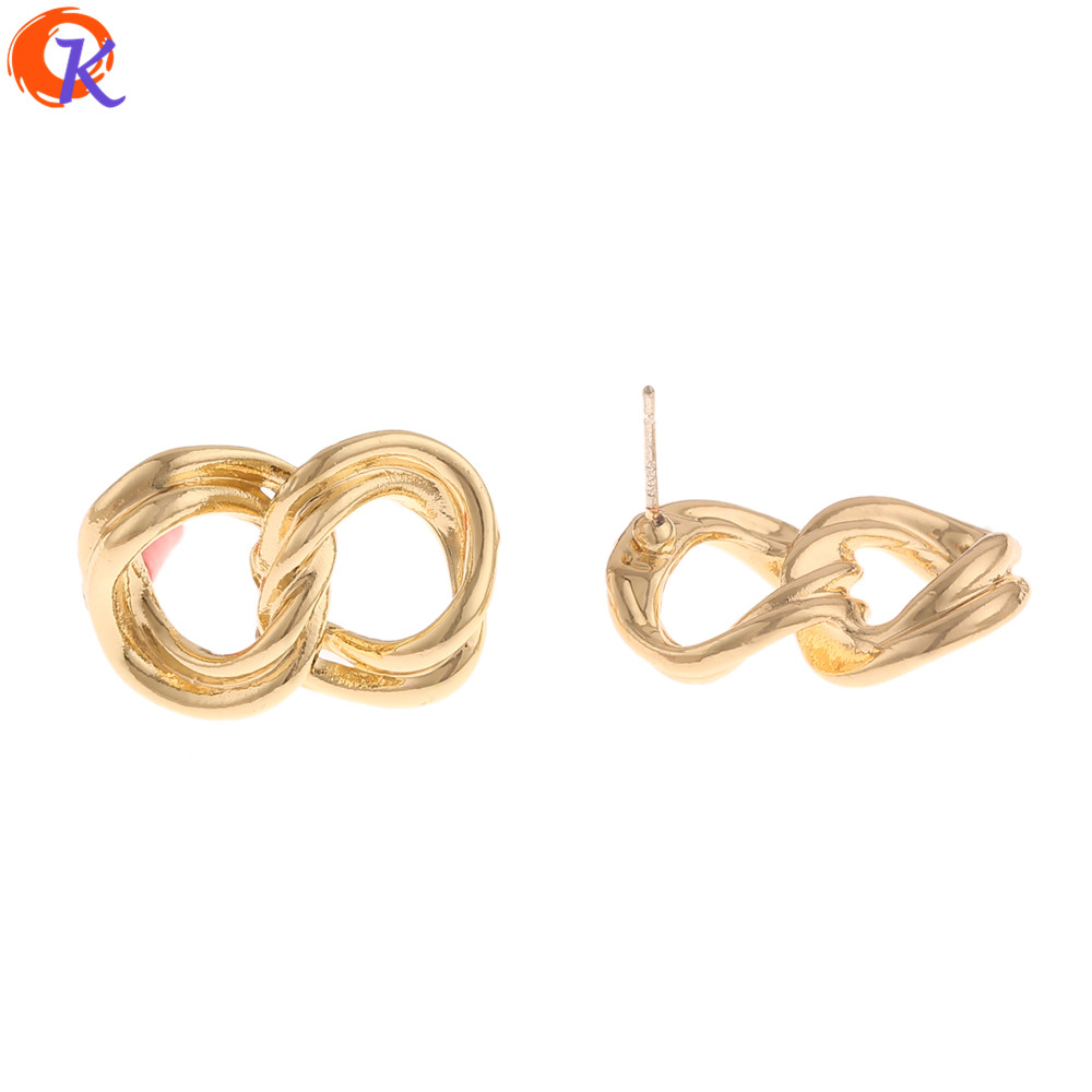Cordial Design 50Pcs 15*23MM Jewelry Accessories/Earrings Stud/Knot Shape/Earring Findings/DIY Parts/Hand Made/Jewelry Making