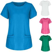 Femmes T-shirts à manches courtes hauts Haut de travail uniforme solide Harajuku couleur poche Haut femmes Ropa Mujer Camisetas T-shirts Poleras