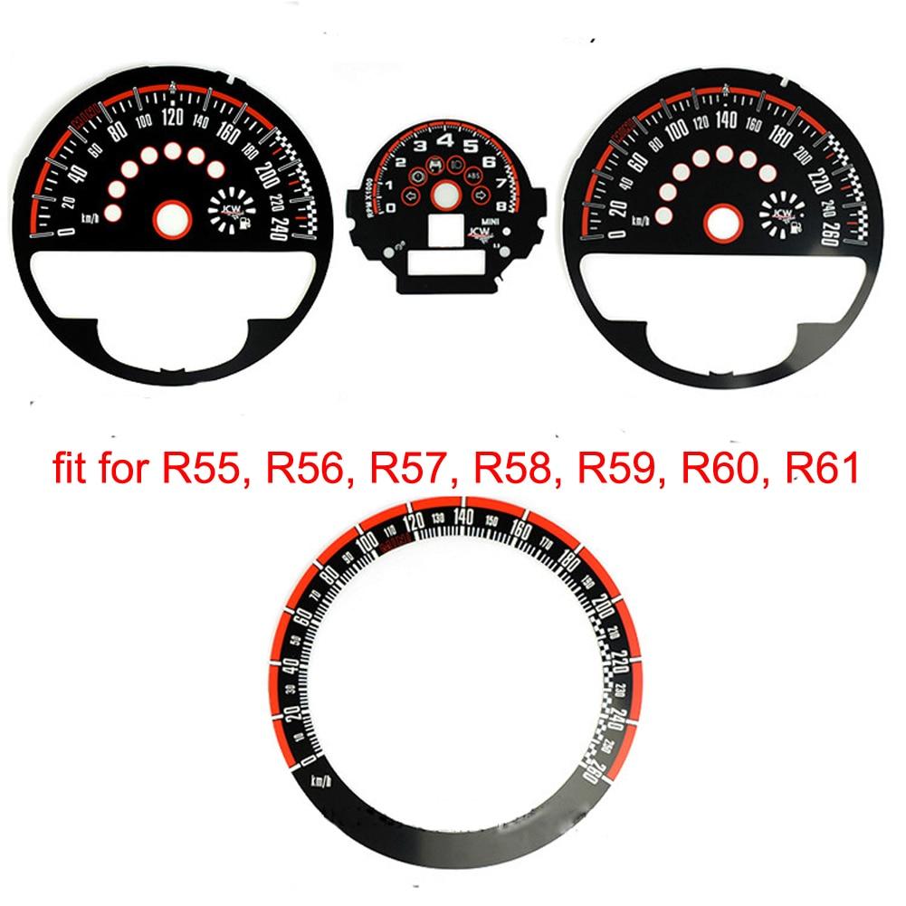 Speedometer Tachometer Gauges Display Instrument Cluster Black & Red Gauge Faces Fit For MINI R55 R56 R57 R58 JCW
