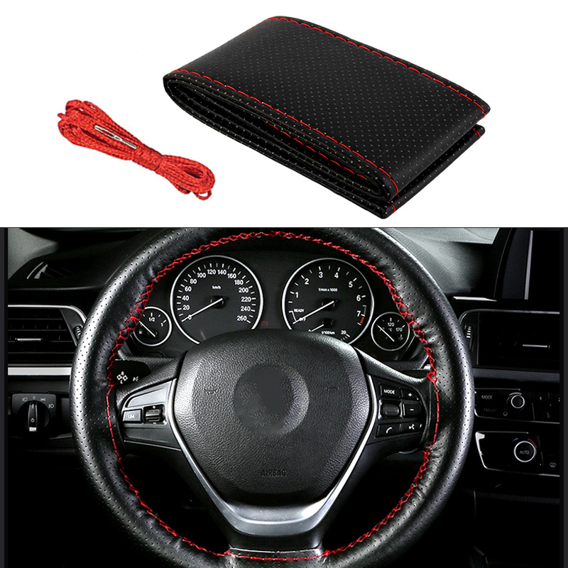 PU Leather Steering Wheel Covers for <font><b>Mercedes</b></font> <font><b>Benz</b></font> W211 W220 W210 W203 W163 <font><b>W140</b></font> C200 C E Class Car Interior Accessories image
