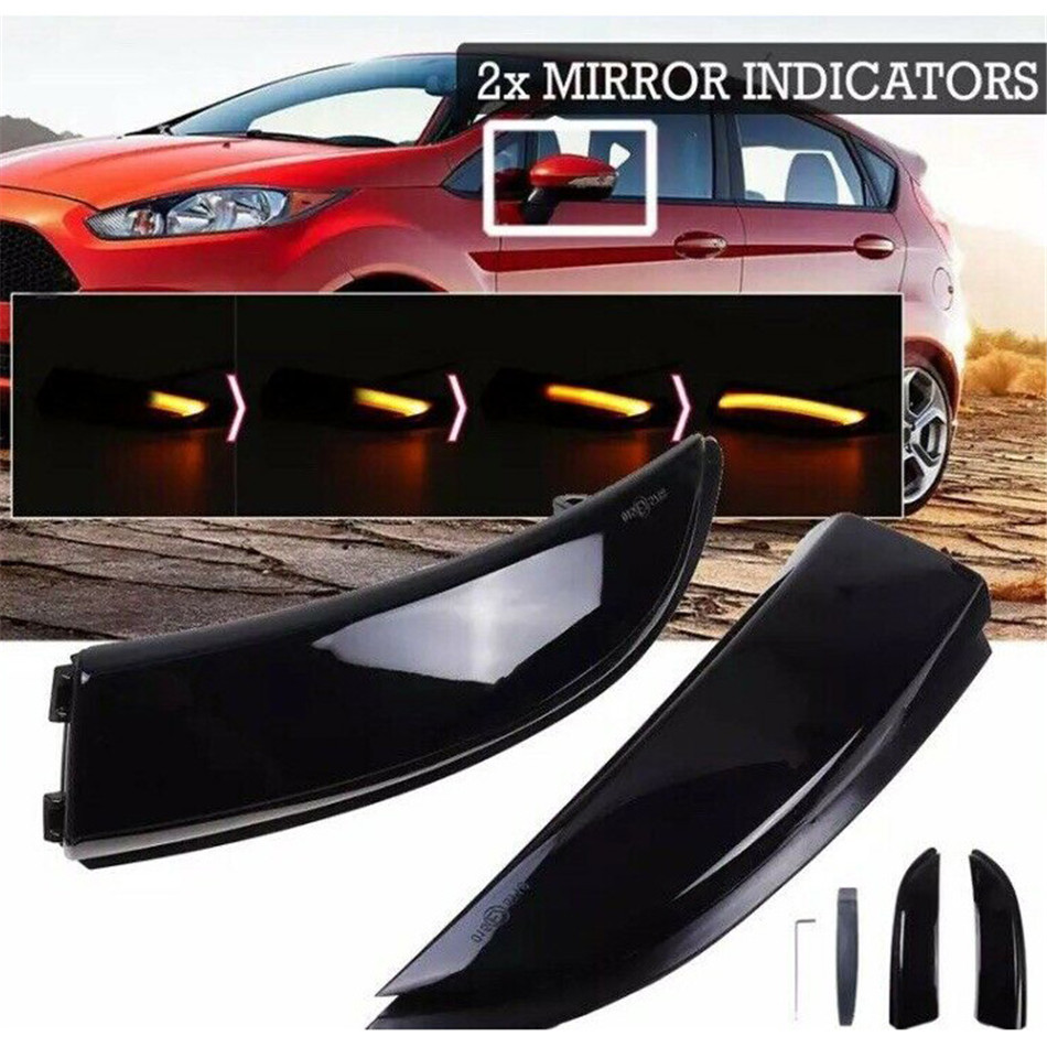 2Pcs Dynamic LED Door Wing Mirror Indicators For Ford Fiesta Mk7 / M7.5, B-MAX Flowing Turn Signal Light LED Side Wing Rearview