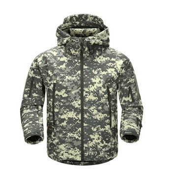 Waterproof Shark Skin Army Tactical Jacket Men Camouflage Military Jackets Mens Softshell Windbreaker Winter Hooded Hunt Coat