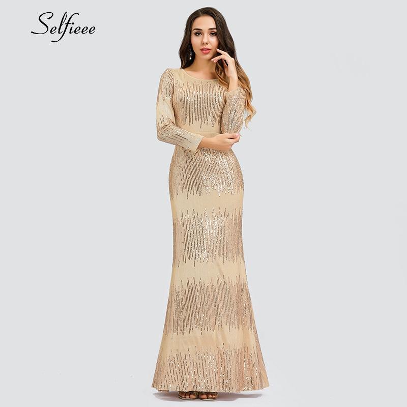 Robe Maix De luxe en or Rose pour femmes robe De soirée Sexy à manches longues col rond moulante Ladeis robes De soirée De Festa 2019