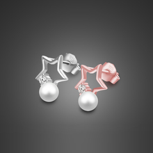 Romantic Girl 925 Sterling Silver Stud Earrings Rose Gold Pearl Star Not Allergic Christmas Gift bijoux