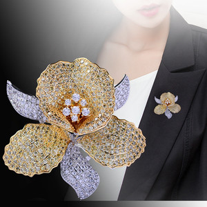 Image 3 - Luxury AAA Zircon Rhinestone Flower Brooch Christmas Pin Vintage Crystal Orchid Pins and Brooches for Women Accessories Jewelry