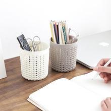 Модная полая ротанговая стильная пластиковая подставка для ручек для офиса канцелярская коробка для хранения
