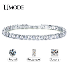 UMODE 2019 New 4mm 5mm 6mm Round Square Zircon Crystal Tennis Bracelet for Women Men White Gold Long Box Chain Jewelry AUB0178AX