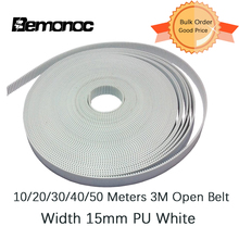 Bemonoc 10/20/30/40/50 Meters Timing Belt PU HTD 3M 15mm PU with Steel Core Timing Belt HTD 3M Belt White For CNC Accessories