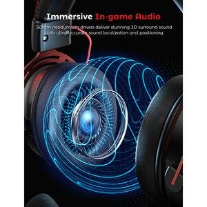 Mpow Air II игровая гарнитура Проводные Игровые наушники с объемным звуком со съемным микрофоном с шумоподавлением для ПК