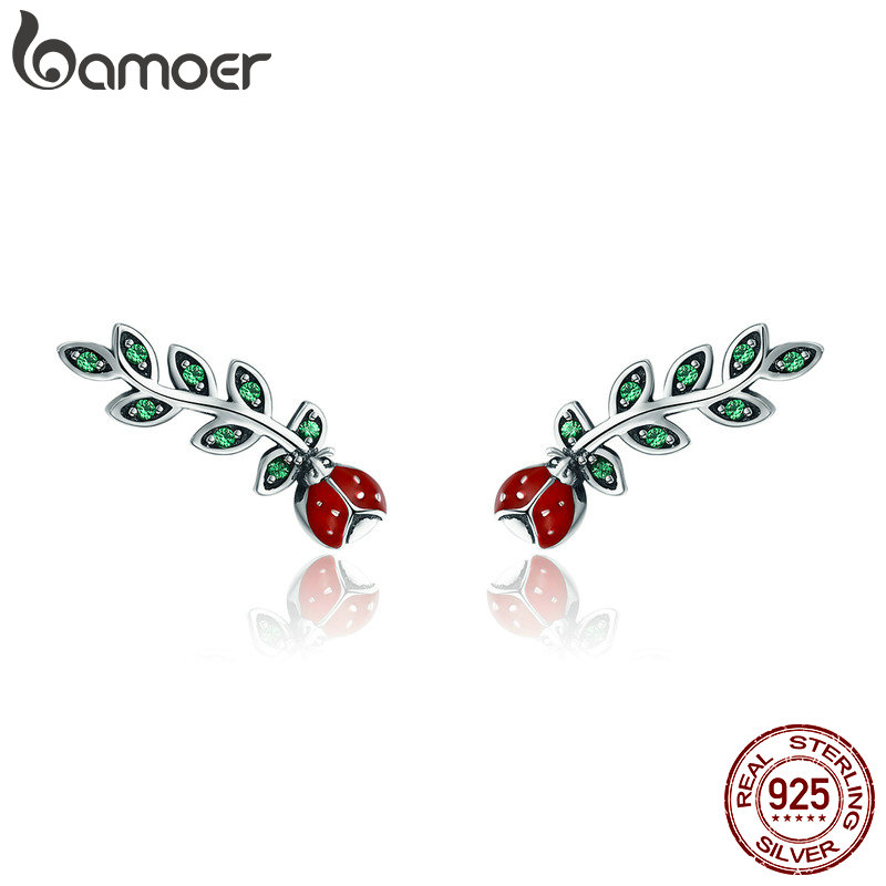 BAMOER Genuine 100% 925 Sterling Silver Insect Red Ladybug In Tree Leaves Stud Earrings For Women Fine Earrings Jewelry SCE314