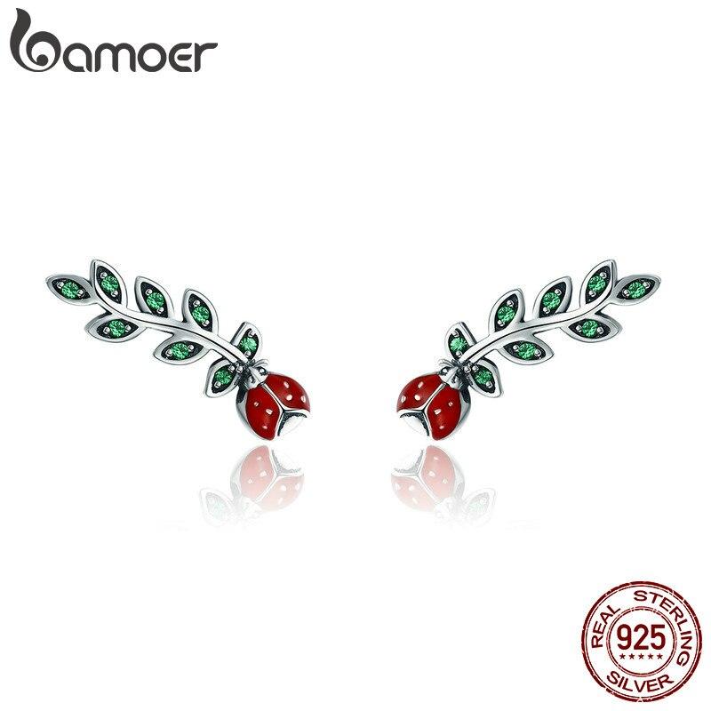 BAMOER Genuine 100% 925 Sterling Silver Insect Red Ladybug In Tree Leaves Stud Earrings For Women Fine Earrings Jewelry SCE314