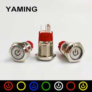 16mm Metal Push Button Switch Momentary Reset / Latching Ring LED Lamp Power Mark Symbol Car Auto Engine PC Power Start(China)