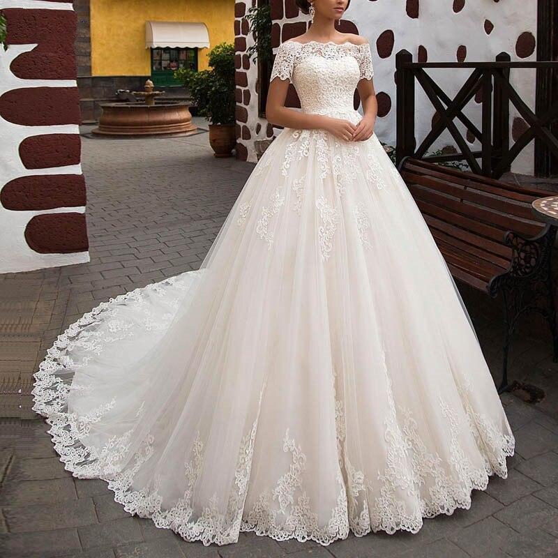 2019 Lace Appliques Wedding Dresses Trouwjurk Boat Neck Wedding Gown Elegant Off Shoulder Ball Gown Wedding Dress